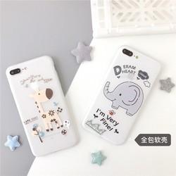 Ốp lưng iphone hình con voi và chú hươu chất liệu dẻo chống bám bụi và vân tay