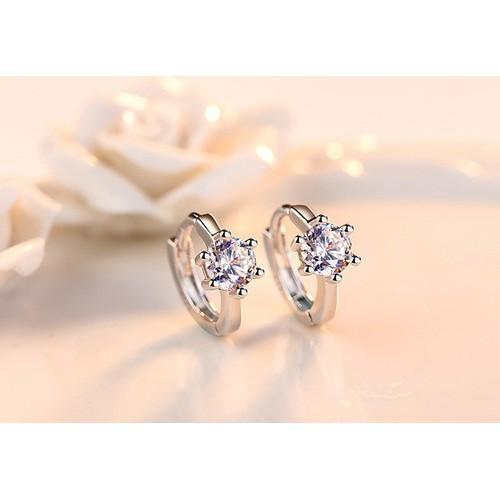 Hoa tai bạc 925 HT06 khoeng tròn hạt đá thời trang