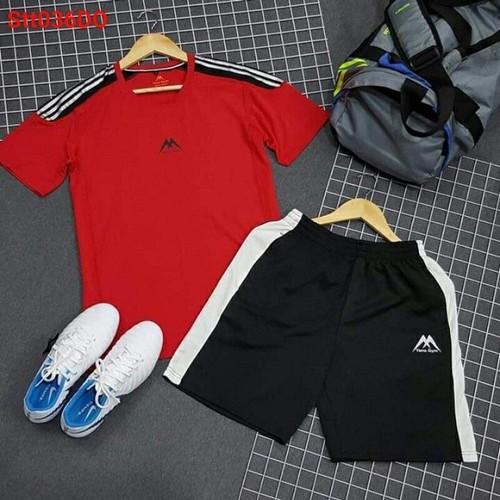 Bộ quần áo thể thao nam quần phối sọc thời trang