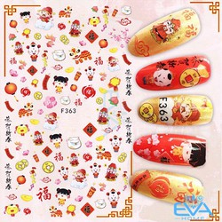 Miếng Dán Móng Tay 3D Nail Sticker Tráng Trí Hoạ Tiết Tết Đón Xuân F363
