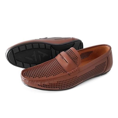 Giày lười nam da bò mùa hè sành điệu.