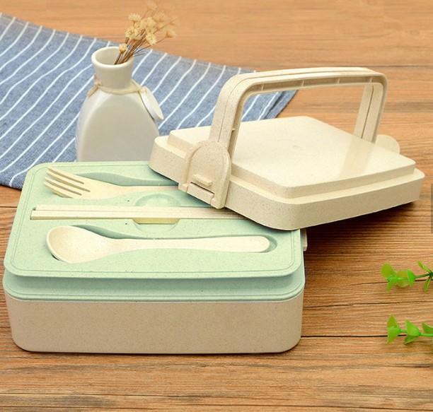Hộp cơm NHỰA LÚA MẠCH dày an toàn cho sức khỏe. Dụng cụ ăn dành cho VĂN PHÒNG CÔNG SỞ, HỌC SINH SINH VIÊN. gồm: 3 khay đựng thực phẩm, Thìa, đũa, muỗng
