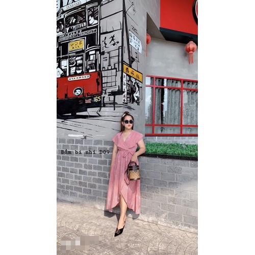 đầm maxi bi hồng big size