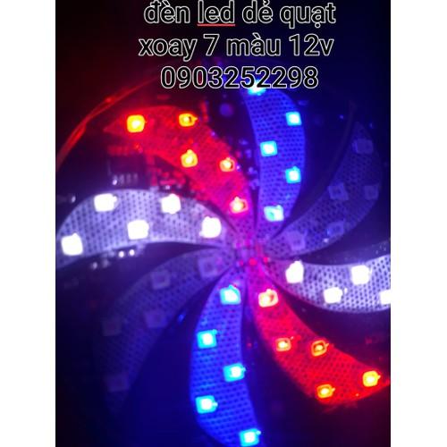đèn led dẻ quạt xoay 7 màu ô tô xe máy cực đẹp 12v