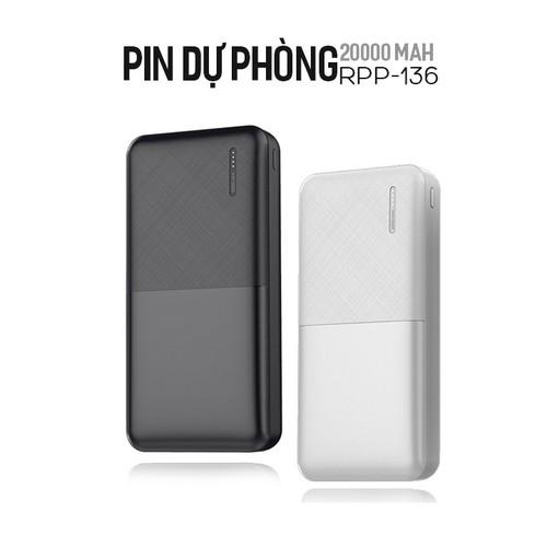 Pin dự phòng Remax Linon 20000mAh RPP-136 2 cổng USB siêu mỏng