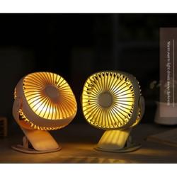 Quạt kẹp bàn mini xoay Đa Năng kiêm đèn ngủ LED Pin 2000mah cao cấp -
