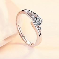 Nhẫn bạc nữ Julia Love nạm đá sang chảnh, nhẫn bạc Ý 925, nhẫn nữ mặt đính đá, nhẫn bạc thời trang DOC-Ri11
