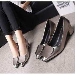 Giày da cao gót đế vuông