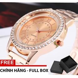 Đồng hồ nữ viên kim cương dây thép chống gỉ + full hộp TXN 10