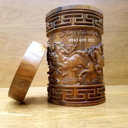 Hộp chè - Hộp đựng chè - Hộp trà - Hộp đựng trà gỗ bách xanh khắc mã đáo thành công