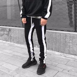 quần nỉ streetwear khóa zip dây dài phối sọc trong ngoài - quần sọc ống suôn có khóa kéo dây drawstring dài