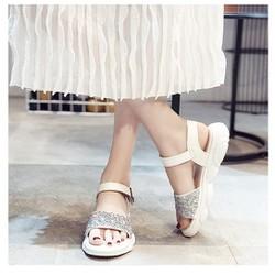 Giày sandal sneaker đính đá đế gấu |Giày sandal nữ