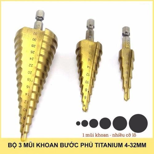 Bộ 3 mũi khoan bước tháp, mũi khoan tháp, mũi khoan nón, mũi khoan tầng, mũi khoan bước thẳng chuôi lục giác, gia cường titanium, phủ CBN bề mặt, thép gió HSS 4-32mm, khoan sắt, tôn, gỗ, nhôm - 11727049 , 19047053 , 15_19047053 , 200000 , Bo-3-mui-khoan-buoc-thap-mui-khoan-thap-mui-khoan-non-mui-khoan-tang-mui-khoan-buoc-thang-chuoi-luc-giac-gia-cuong-titanium-phu-CBN-be-mat-thep-gio-HSS-4-32mm-khoan-sat-ton-go-nhom-15_19047053 , sendo.vn ,