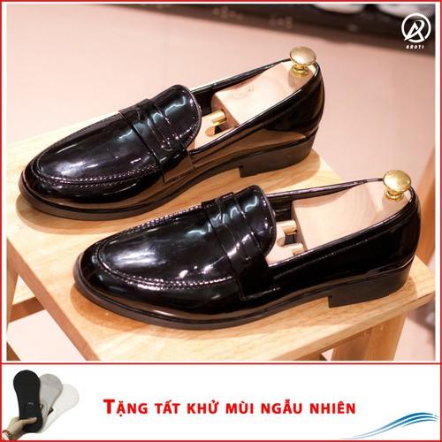 Giày Công Sở Nam - Giày Lười Nam Đẹp Băng Khuyết Da Bóng Rất Sang Trọng - M367-BONG-LC