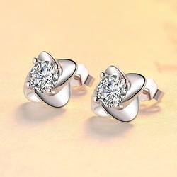 Bông tai bạc nữ Thiên kim đính zircon siêu sang, khuyên tai bạc nữ, hoa tai bạc Ý, bông tai nụ đính đá AH-BT11