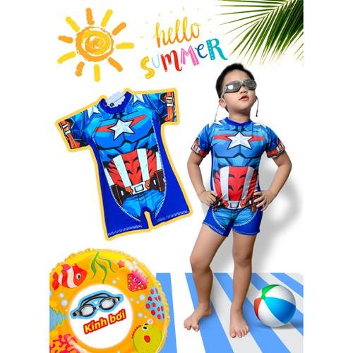Đồ bơi siêu nhân người khiên cho bé tặng kèm kính bơi