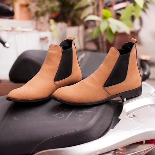 Giày Chelsea Boot Nam Cao Cổ Da Buck Màu Nâu Cổ Chun Cực Đẹp - NÂU-CB548-LC