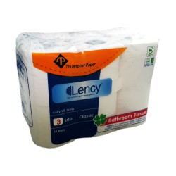 Giấy vệ sinh cao cấp LENCY 12 cuộn x 3 lớp