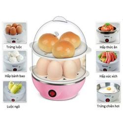 Nồi điện luộc trứng và hấp thức ăn siêu tốc 2 tầng