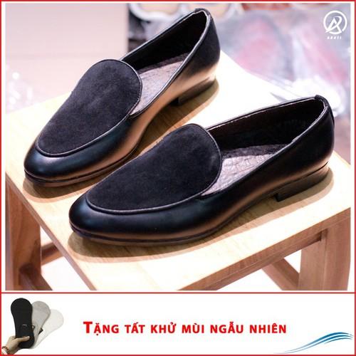 Giày Lười Nam Đẹp Đế Khâu Da Nhung M430-LC