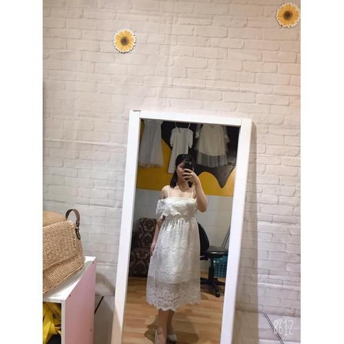 Đầm 2 dây trắng ren dưới 60kg