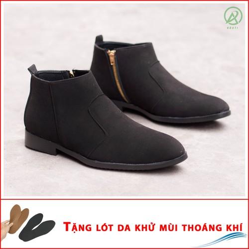 Giày Chelsea Boot Cổ Khóa Tiện Lợi Da Búc Đen Và Đế Được Khâu Chắc Chắn - BUCKDEN-CB521-LC
