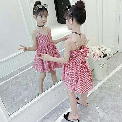 Đầm hai dây chấm bi lưng phối nơ cho bé từ 15-26kg - đầm cho bé