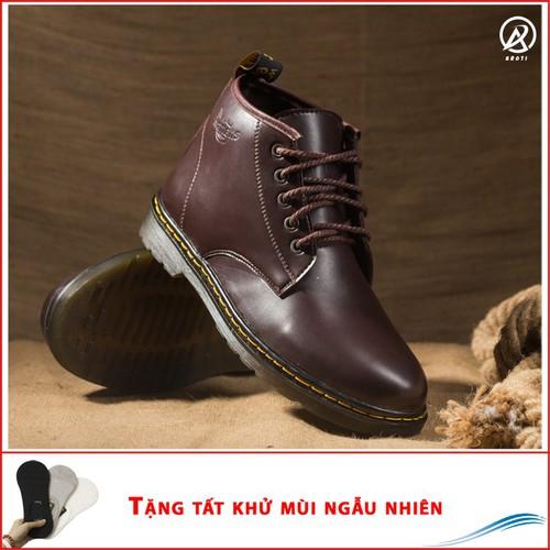 Giày Nam - Giày Boot Nam Cổ Lửng Đế Khâu Da Trơn Màu Nâu - M354-LC