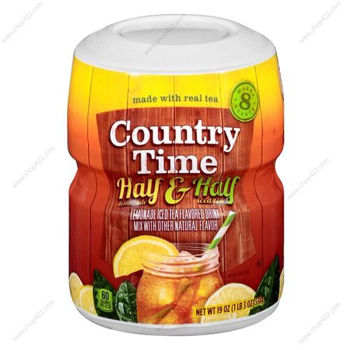 Bột pha nước country time half lemonade and half iced tea 538g