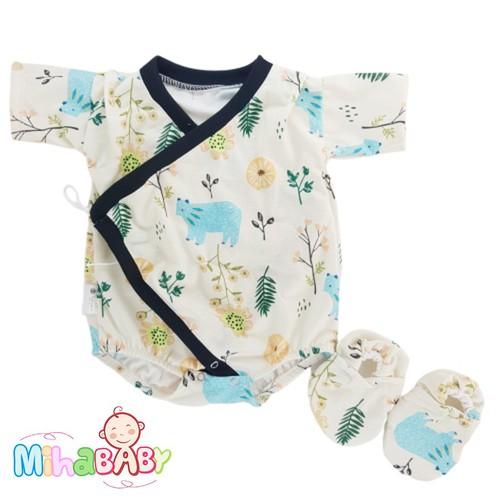 Bộ Bodysuit kiểu dáng Yukata Nhật Bản in Rừng Cây cho bé - Mihababy- YU_RUNG