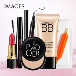Set 6 trang điểm IMAGES Phấn phủ kiềm dầu Powder + Kem BB che khuyết điểm + Son môi mềm mịn + Bút dạ kẻ mắt + Mascara dài mi + Mặt nạ cam đỏ dưỡng trắng da đẹp hoàn hảo AH-BTD28