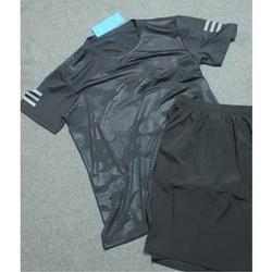 Bộ quần áo thể thao nam nam màu đen vân hoa họa tiết lạ mắt