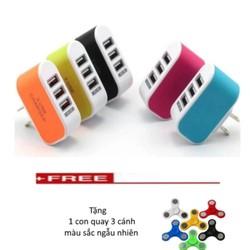 Cốc sạc điện thoại đa năng 3 cổng USB Tặng 1 con quay 3 cánh màu sắc ngẫu nhiên