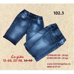 Quần short jean thun 102.3 size 22-38 từ 40- 75kg