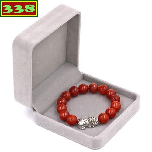 Vòng đeo tay tỳ hưu inox trắng - chuỗi đeo tay đá vân rồng đỏ 12 ly vvrotht12 kèm hộp nhung