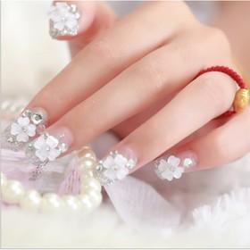 bộ 24 móng tay giả hình hoa mai đính đá - 822629863
