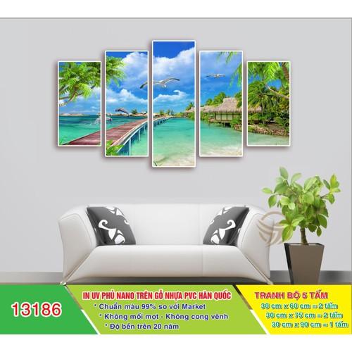 Tranh treo tường biển, tranh gỗ ghép 3d hiện đại, tranh treo tường phòng khách b234