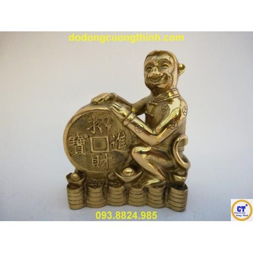 Khỉ ôm tiền trung 16cm bằng đồng
