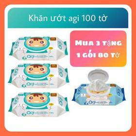Mẫu mới-Khăn ướt Agi k mùi loại 100 tờ : mua 3 gói 100 tờ tặng 1 gói 80 tờ - khăn ướt Agi k mùi 100 tờ