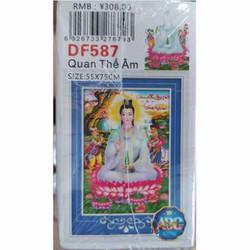 DF587-Tranh đính đá Phật Quan Âm 55x75cm chưa đính