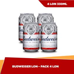 [HCM] Budweiser lon 330ml - bộ 4 lon