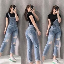Quần yếm jean nữ rách