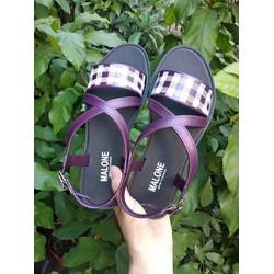Sandal đế bệt phối màu Caro