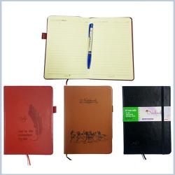 Sổ Ghi chép Sổ Nhật Kí Bìa Da Cứng Kẻ Ngang Chống Lóa Mắt 160 trang 20cm x 14cm