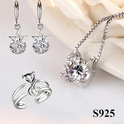 Bộ trang sức bạc cao cấp Lily Love nạm đá thời trang tặng kèm nhẫn Hồ ly và Bông tai Ngôi Sao May Mắn TTB- BTSB28