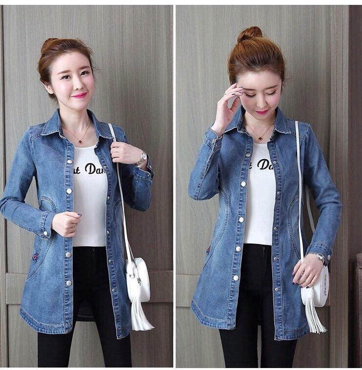 Áo khoác jean nữ form dài YC028