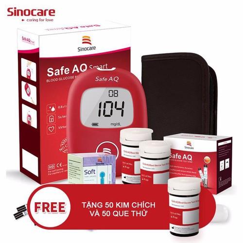 Máy đo đường huyết sinocare safe aq chính hãng đức + tặng 50 que thử 50 kim lấy máu