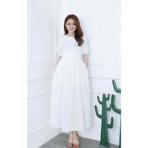 Đầm maxi trắng búi eo