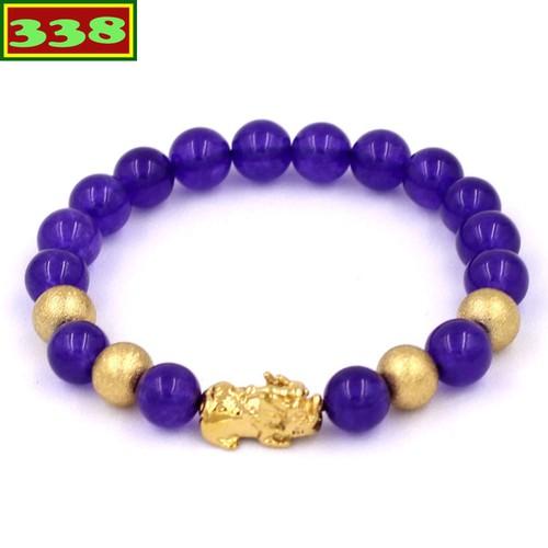 Vòng đeo tay tỳ hưu inox vàng - chuỗi đeo tay đá vân rồng tím 8 ly vvrithvb8