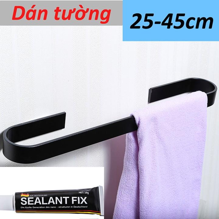 Thanh nhôm treo khăn tắm dán tường gạch men , Móc treo khăn nhà tắm dán tường gạch men kính 2 màu sắc 2 kích thước khác nhau